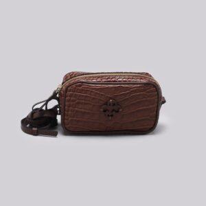 Bolsa Shoulder Bag Couro Crocodilo Ébano - P