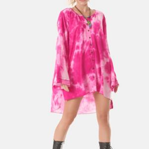 Camisa Saída de Praia Rosa Tie Dye Digital Yacamim M