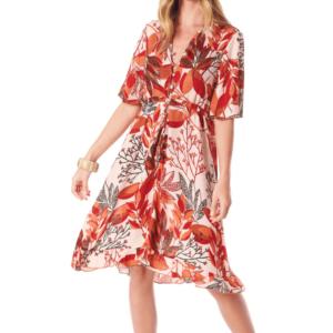 Vestido Curto com Mangas 3/4 Vermelho Estampado Yacamim M