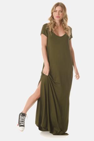 Vestido Longo Básico Verde Escuro Yacamim G